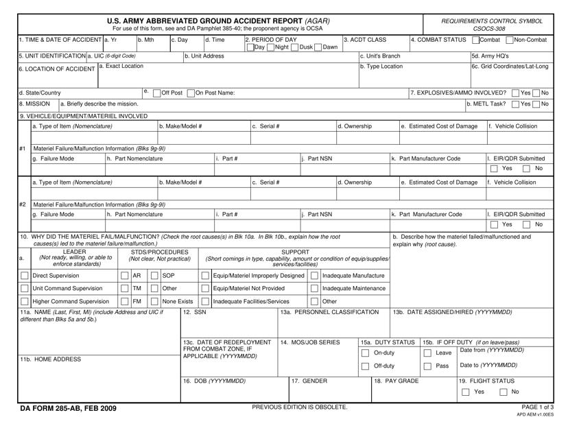 DA Form 285-ab Fillable Pdf