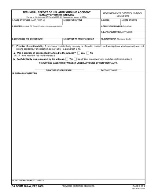 DA Form 285-w  Fillable Pdf
