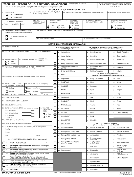 DA Form 285 Fillable Pdf