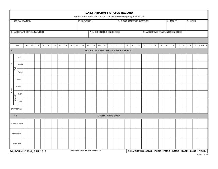DA Form 1352-1  Fillable Pdf