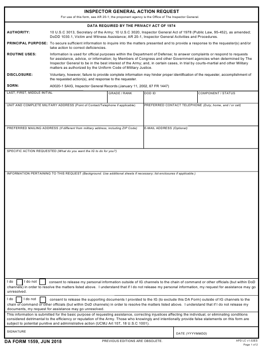 DA Form 1559 Fillable Pdf