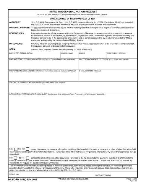 DA Form 1559 Fillable Pdf