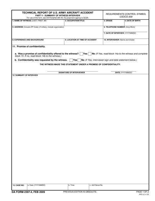 DA Form 2397-4  Printable Pdf