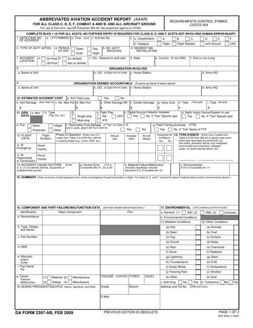DA Form 2397-ab  Printable Pdf