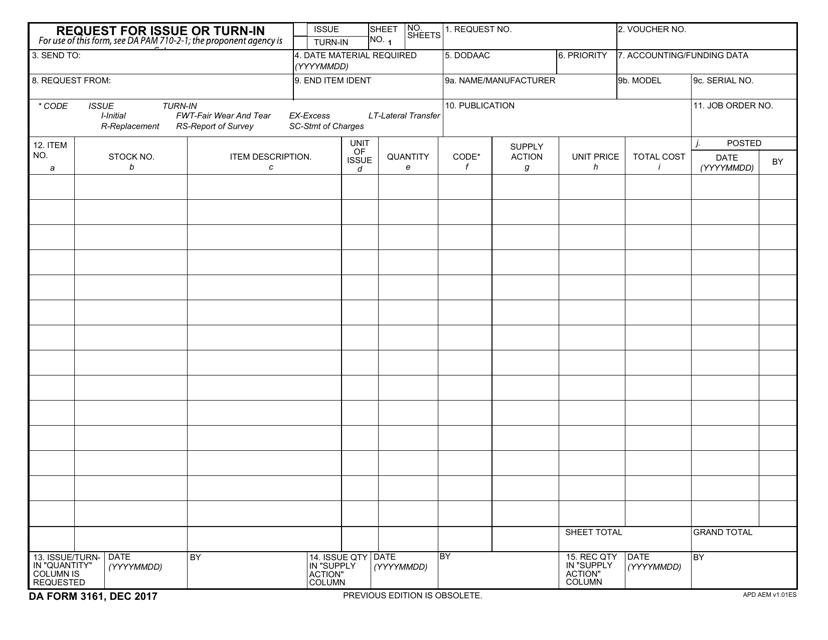 DA Form 3161 Printable Pdf