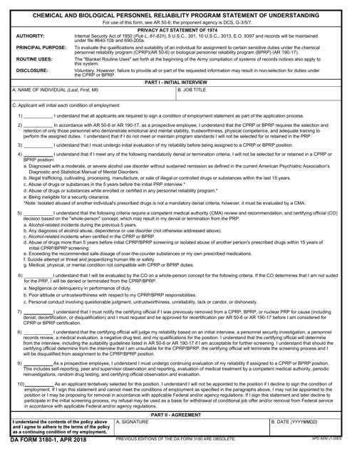 DA Form 3180-1 Fillable Pdf