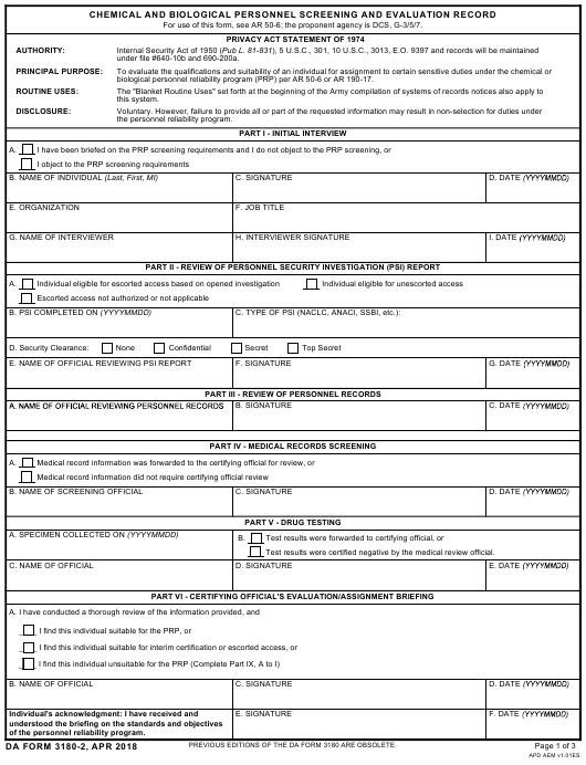 DA Form 3180-2 Fillable Pdf