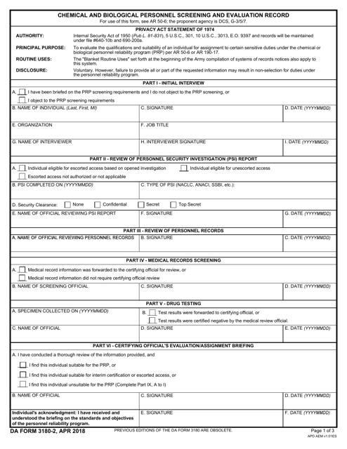 DA Form 3180-2 Fillable Pdf