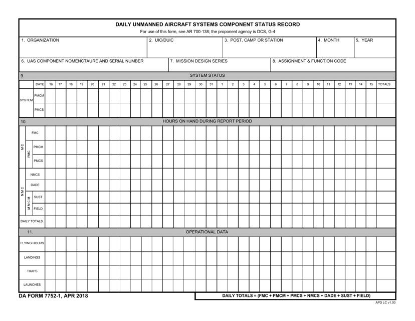 DA Form 7752-1 Printable Pdf