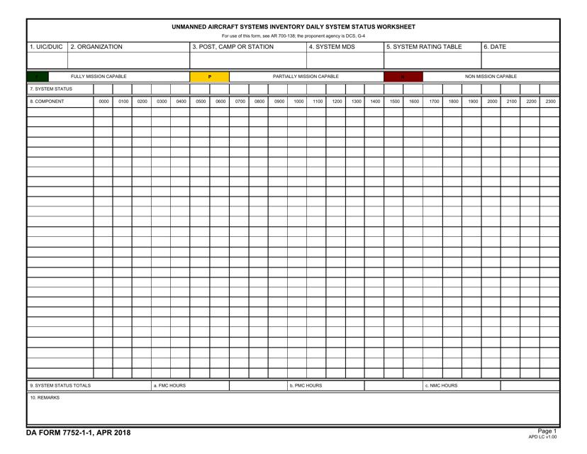 DA Form 7752-1-1 Fillable Pdf