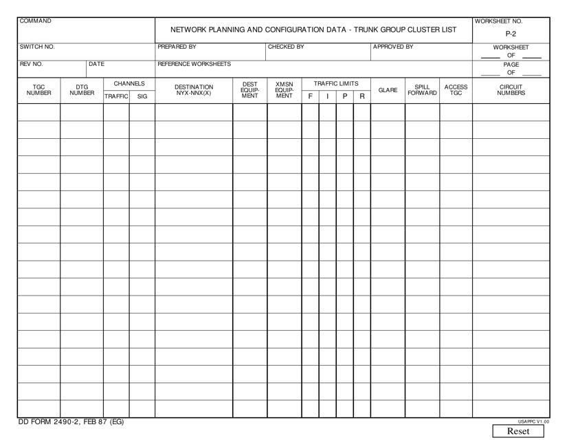 DD Form 2490-2  Printable Pdf