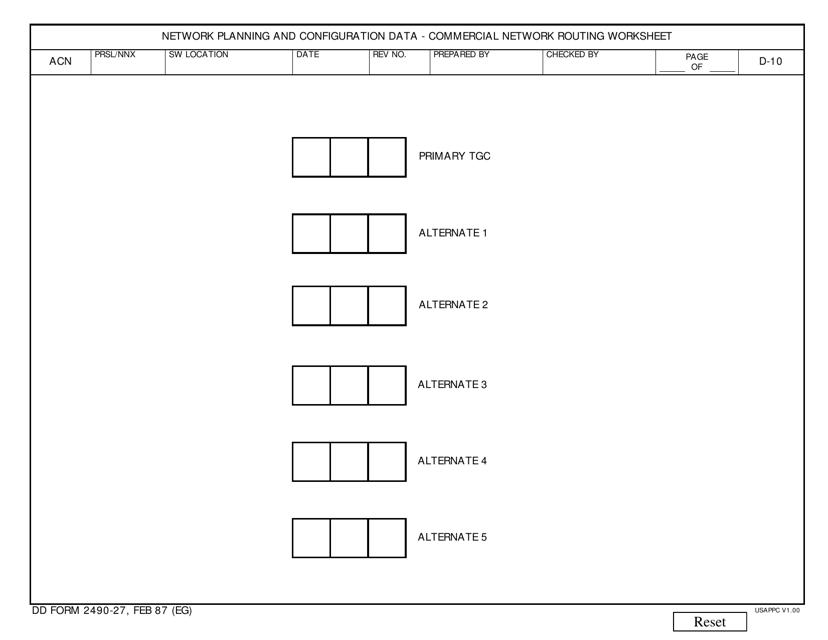 DD Form 2490-27  Printable Pdf