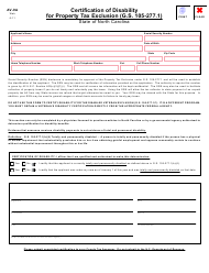 Form AV-9A Certification of Disability for Property Tax Exclusion - North Carolina