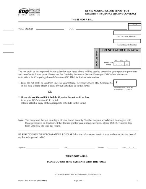 Form DE945  Printable Pdf