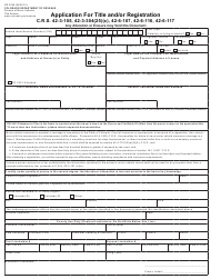 "Form DR2395 ""Application for Title and/Or Registration"" - Colorado"