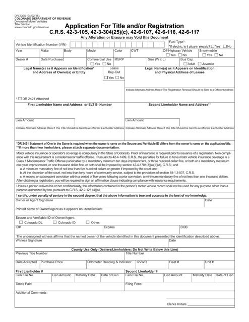 Form DR2395  Printable Pdf
