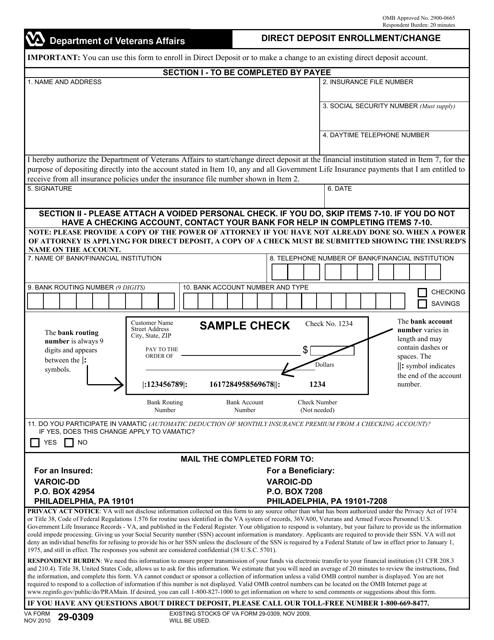 VA Form 29-0309  Printable Pdf