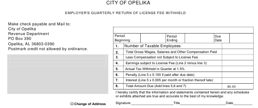 Employer's Quarterly Return of License Fee Withheld - City of Opelika, Alabama Download Pdf