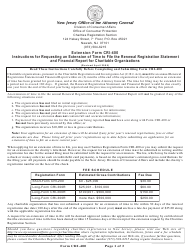 """Form CRI-400 """"Application for an Extension of Time to File the Annual Renewal Registration Statement and Financial Report for a Charitable Organization"""" - New Jersey"""