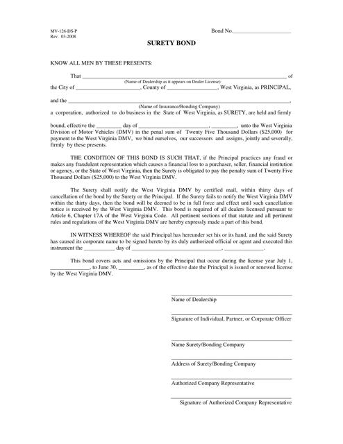 Form MV-126-DS-P  Printable Pdf
