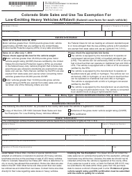 "Form DR1369 ""Colorado State Sales and Use Tax Exemption for Low-Emitting Heavy Vehicles Affidavit"" - Colorado"