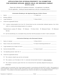"Form PTF-307 ""Application for Veteran Property Tax Exemption for Widowed Spouse, Minor Child, or Widowed Parent"" - Maine"