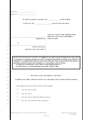 """Form C-3 """"Application for Order for Protection of Children (Nrs 33.400)"""" - Nevada"""