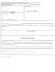 Form LVJCVL-12 Justice Court - Notice of Appeal - Nevada