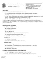 "Form LL/VER ""Landlord Verification Form"" - Massachusetts"