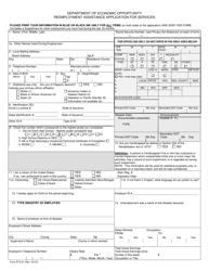 Form ETA-81 Reemployment Assistance Application for Services - Florida