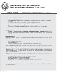 Form AP-193-1 Texas Application for Retailer Cigarette, Cigar, and/Or Tobacco Products Taxes Permit - Texas