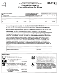 "Form ST-119.1 ""New York State and Local Sales and Use Tax - Exempt Organization - Exempt Purchase Certificate"" - New York"