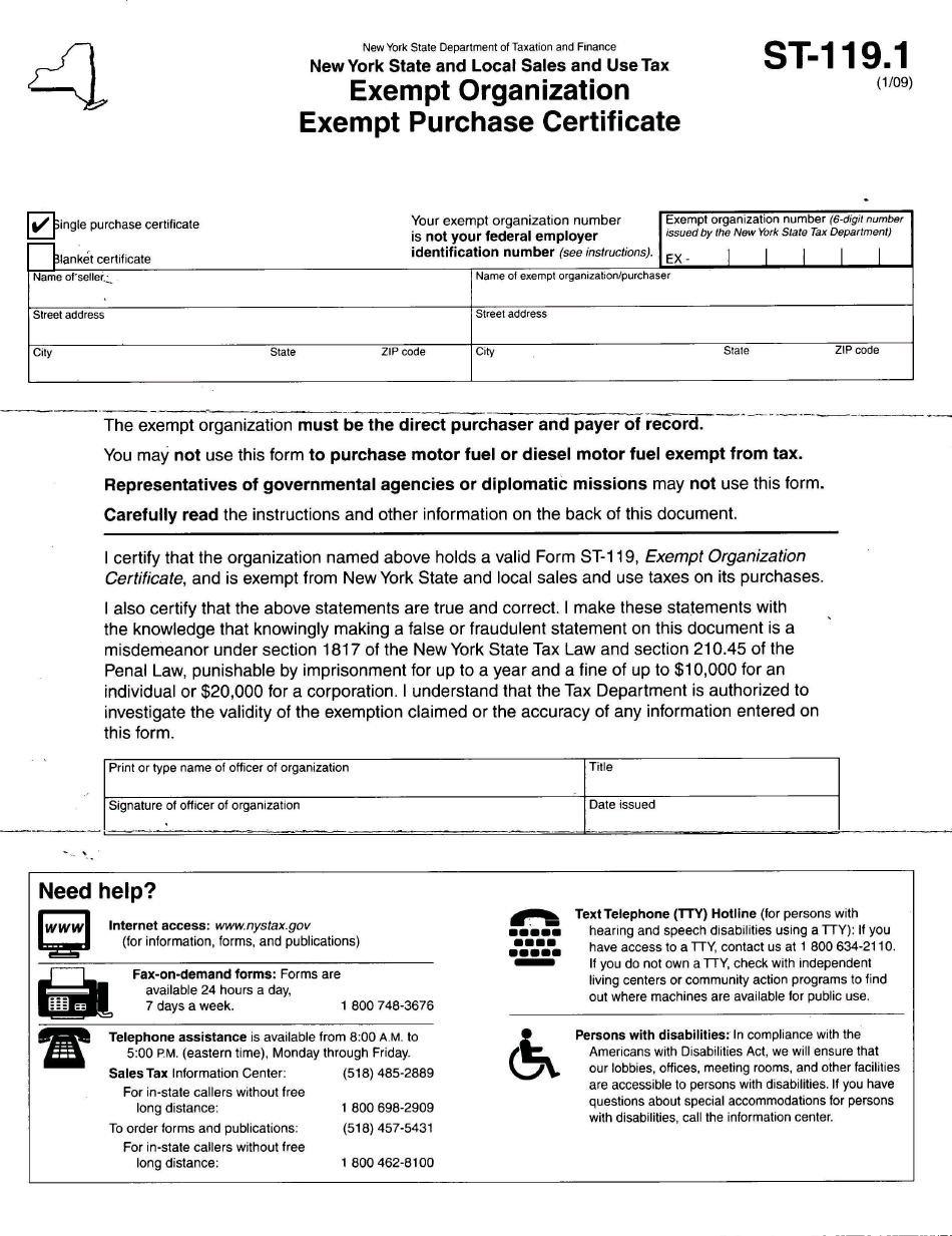 Form ST-119.1  Printable Pdf