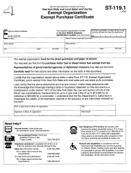 Form ST-119.1 New York State and Local Sales and Use Tax - Exempt Organization - Exempt Purchase Certificate - New York