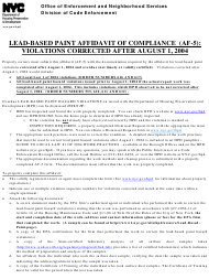 "Form AF-5 ""Lead-Based Paint Affidavit of Compliance - Violations Corrected After August 1, 2004"" - New York City"