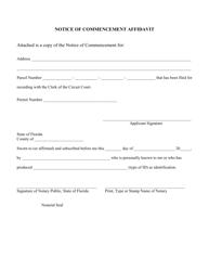 Notice of Commencement Affidavit - Florida
