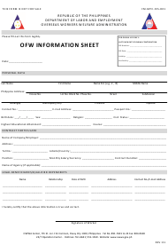 "Form FM-MPC-OIS-D01 ""Ofw Information Sheet"" - Philippines"