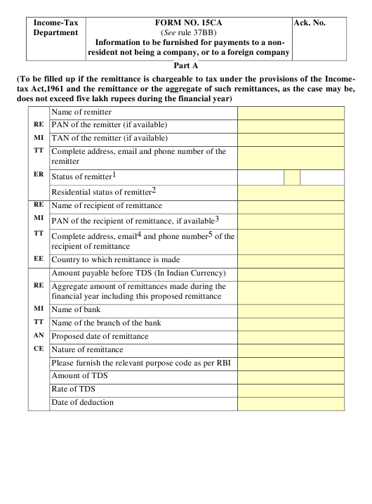 Form 15CA Printable Pdf