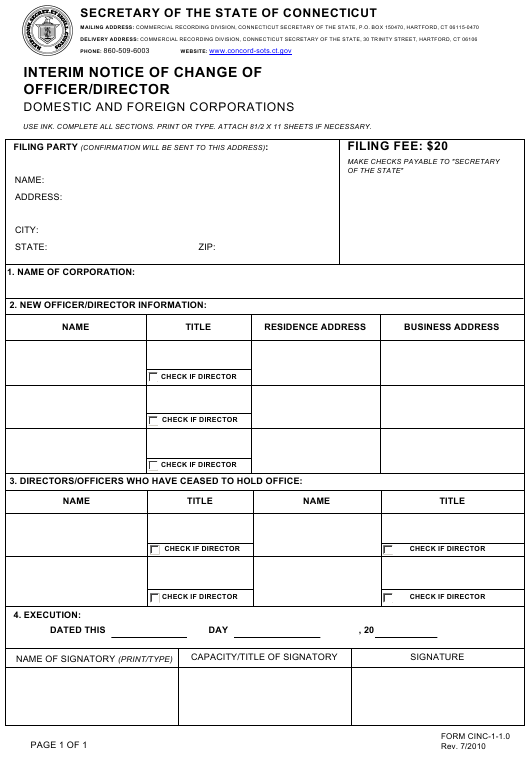 Form CINC-1-1.0  Printable Pdf