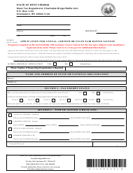 Form WV/RAF-1 Application for Annual, Limited or State Fair Raffle License - West Virginia