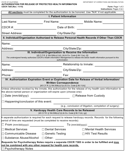 Form Cdcr 7385 Download Fillable Pdf Authorization For