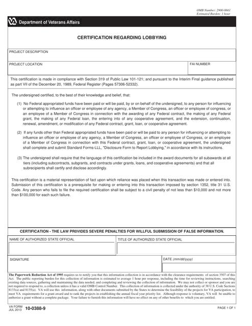 VA Form 10-0388-9 Printable Pdf