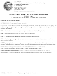 "Form 08-528 ""Registered Agent Notice of Resignation"" - Alaska"
