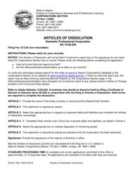"Form 08-431 ""Articles of Dissolution for Domestic Professional Corporation"" - Alaska"