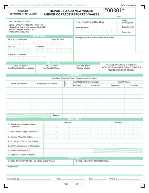 Form DOL-3C Printable Pdf