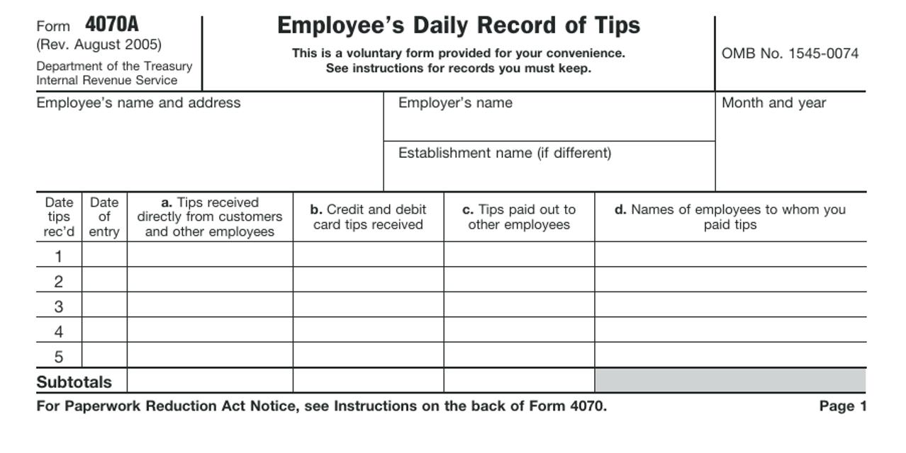 IRS Form 4070A Printable Pdf