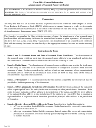 "Form 504 ""Abandonment of Assumed Name Certificate"" - Texas"