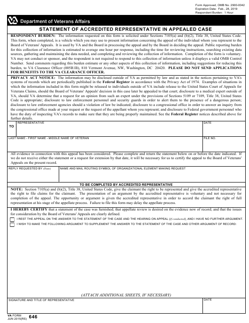 VA Form 646  Printable Pdf