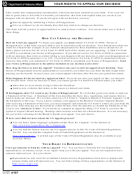VA Form 4107 Your Rights to Appeal Our Decision