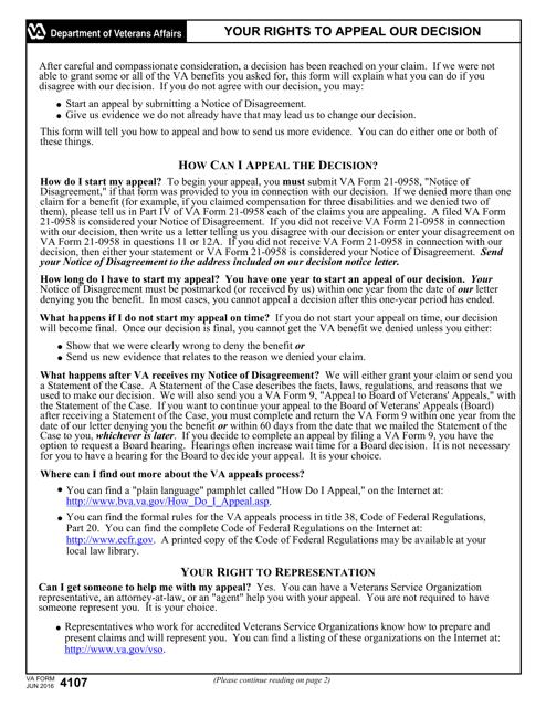 VA Form 4107  Printable Pdf